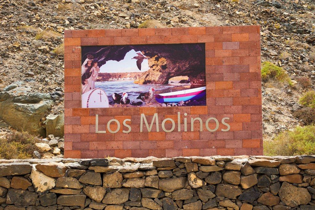 Letrero de Los Molinos (pueblo) en Fuerteventura