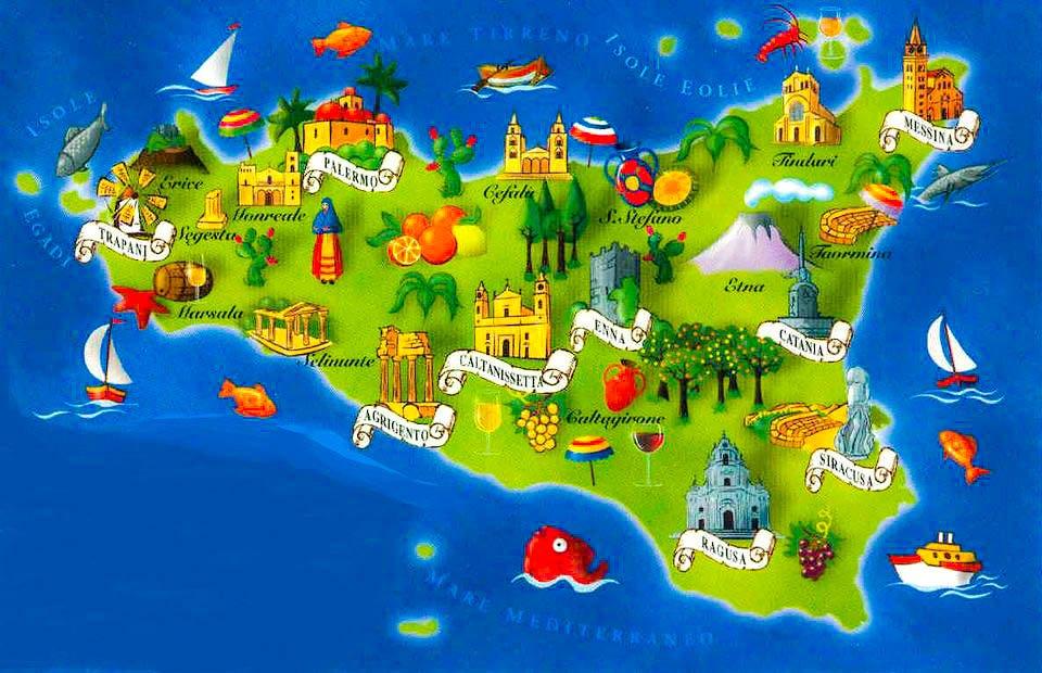 Mapa para un viaje a Sicilia en 2 semanas