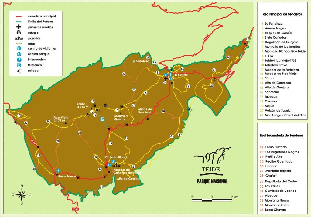 Mapa Miradores del Parque Nacional del Teide