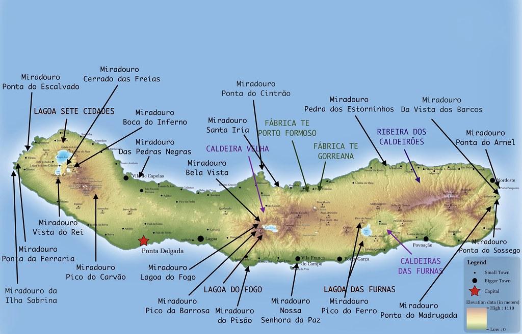 Mapa con los mejores miradores de São Miguel