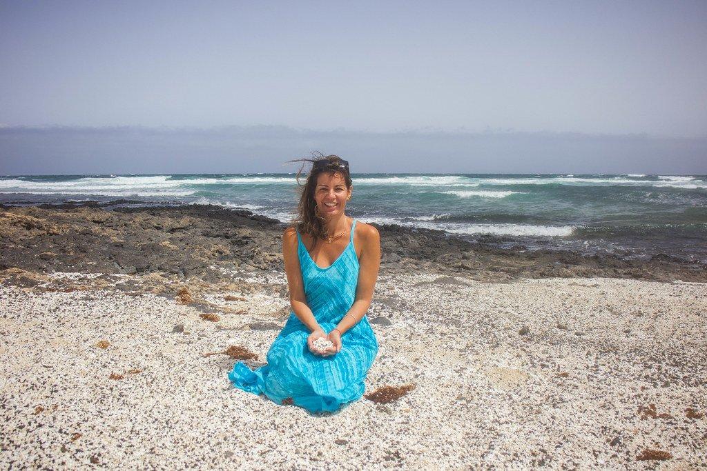 Playa El Hierro, mostrando los rodolitos, en Fuerteventura
