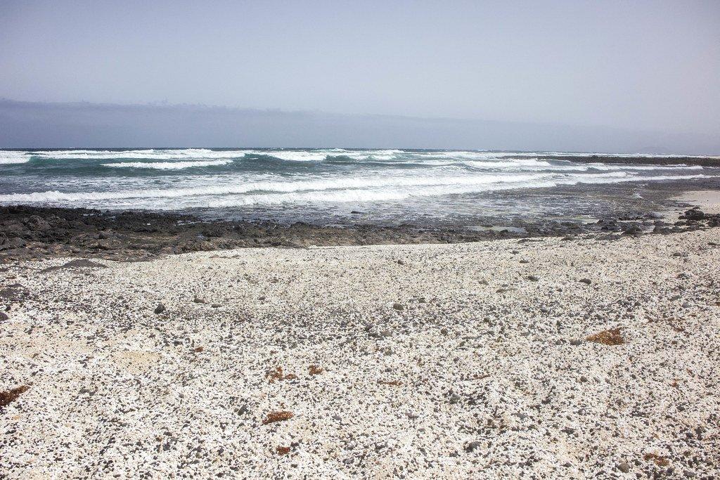 Playa El Hierro en Fuerteventura es conocida como la playa de las palomitas de maiz